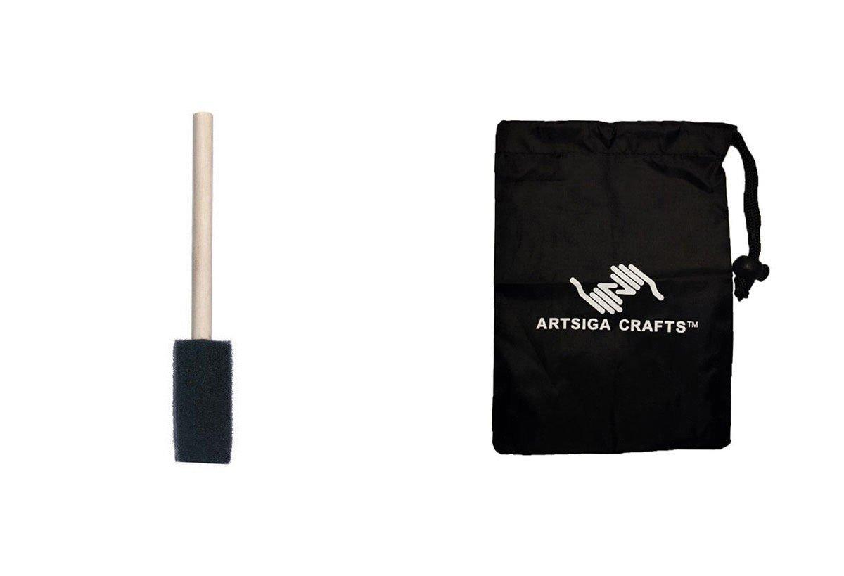 Darice Paint Brushes Foam Brush 1in. (48 Pack) 97141 Bundle with 1 Artsiga Crafts Small Bag