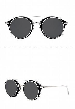 Männer und Frauen Runden Vintage Brille Steampunk Sonnenbrille Abnehmbare Sonnenbrille,D,Der gesamte Code