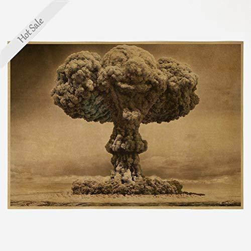 richclassdecor Ship World War II Atomic Bomb Mushroom Cloud Poster Vintage Kraft Paper Paint Living Room Wall Art Decor 42x30cm ZJP-M004