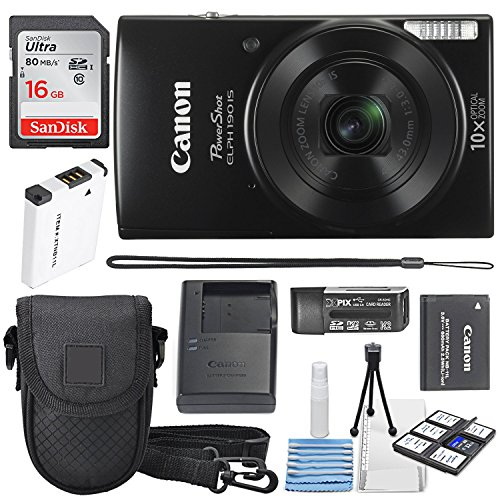 (Canon PowerShot ELPH 190 IS Digital Camera (Black) with 10x Optical Zoom and Built-In Wi-Fi with 16GB SDHC + Replacement battery + Protective camera case Along with Deluxe Cleaning Bundle)