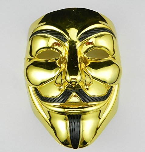 VIP Gold version V for Vendetta Mask / Anonymous / Guy Fawkes mask mask -