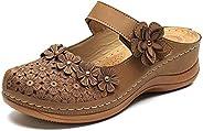Women's Summer Sandals Handmade Ladies Shoes Vintage Leather Floral Sandals Women Comfortable Flat Bottom