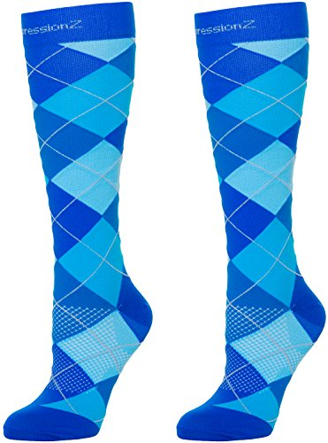 (Men/Women Knee High Compression Socks Medium Argyle Blue)