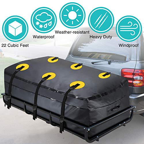 (MODOKIT Trailer Hitch Bag-100% Waterproof Hitch Tray Cargo Carrier Bag for Vehicle Car Truck SUV Vans, Heavy Duty Cargo Bags for Hitch Racks-22 Cubic Feet (60