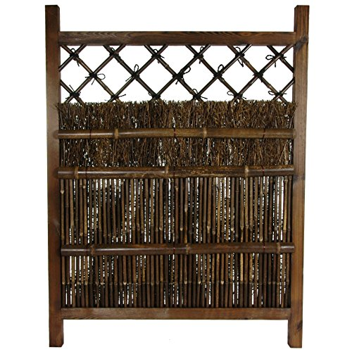Zen Garden Fence - Oriental Furniture Japanese Dark Stain Wood & Bamboo Garden Gate