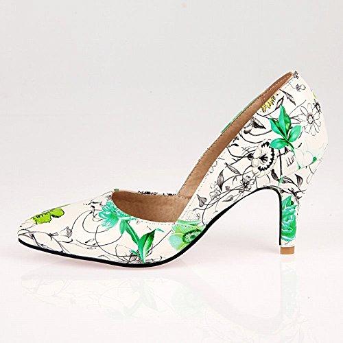 MissSaSa Damen high heel Pointed Toe Stoffdruck Pumps Grün
