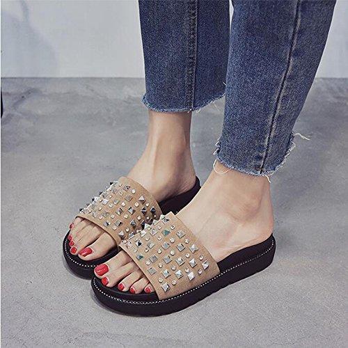 Shoes Ladies Rivet Summer Platform Spesso Fondo Sandali Da Strass Antiscivolo Khaki Huateng Spiaggia Comfort Fashion Pw5g7wqd