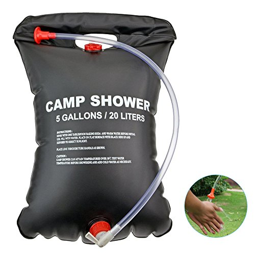 iDeep Camping Shower Bag, 20L/5 Gallons Portable Shower PVC Water Bag Camping Water Bathing Bag with On/Off Nozzle Outdoor Shower Bag include Storage Box for Outdoor Hiking Climbing Wash Car by iDeep