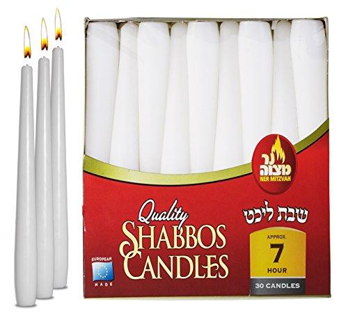 Ner Mitzvah Classic White Taper Candles - 8 Inch - 30 Bulk Pack - for Shabbat, Dinner Tables, Restaurants, Ceremonies and Emergency - 7 Hour Burn - 8 Candles Taper