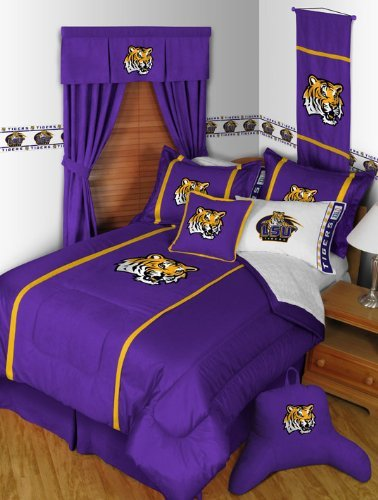 BEDDING SET, Comforter, 4pc Sheet Set, 2 Pillow Shams, NEW, Louisiana State Tigers (Lsu Tigers Sham)