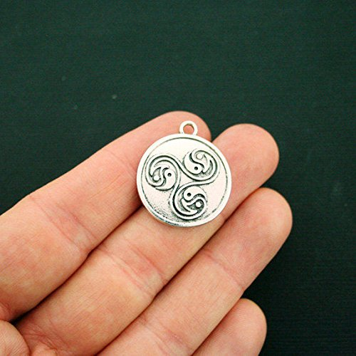 2 Yin Yang Charms Antique Silver Tone Triple Swirl - SC6457 Jewelry Making Supply Pendant Bracelet DIY Crafting by Wholesale Charms ()