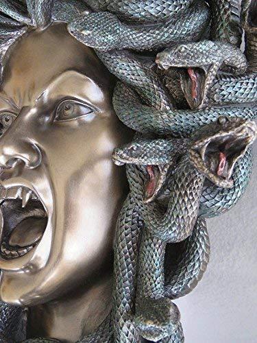 Decorativo Scultura in Bronzo//Maschera da Parete, 37/cm Statue Medusa Mitologia Greca Gorgon