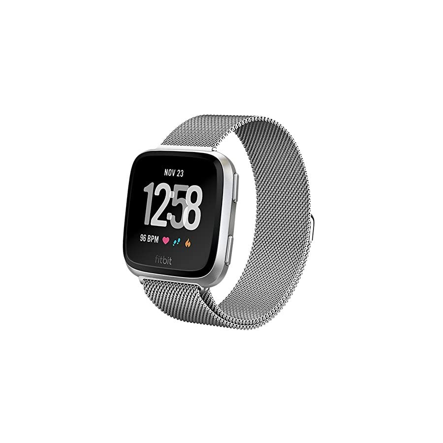 hooroor Compatible Bands Replacement for Fitbit Versa Smart Watch Women Men Small Large, Milanese Loop Stainless Steel Metal Sport Bracelet Strap Magnet Lock Wristbands Silver Black Rose Gold Lavender