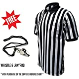 Winners Sportswear Official Striped Zip Referee Shirt including free metal whistle and lanyard