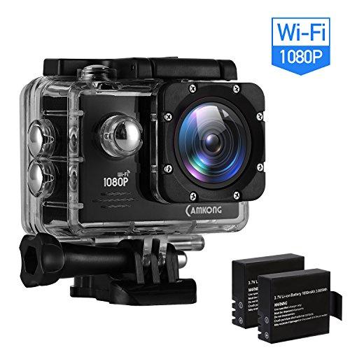 CAMKONG Action Kamera Sports wasserdichte Kamera Action Cam 1080P 14MP Wi-Fi 2.0'' LCD Bildschirm Full HD 170°Weitwinkelobjektiv(Dual 1050mAh Batterien)