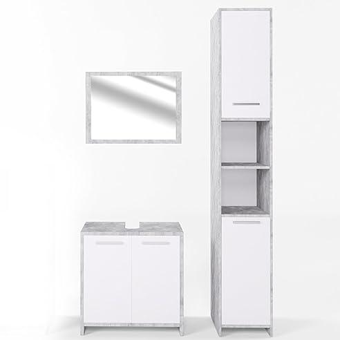 VICCO Badmöbel Set KIKO Weiß Hochglanz / Grau Beton   Badspiegel +  Unterschrank + Bad Hochschrank