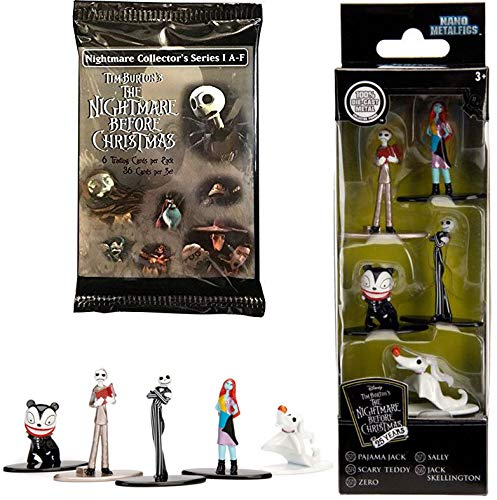 (AYB Nano NBX Figures Nightmare Before Christmas Mini Metal Figs 5-Pack Jack Skellington / Sally / Scary Teddy / Pajama / Zero Ghost Dog Pop Cartoon Characters + Trading Cards Collectible Set)