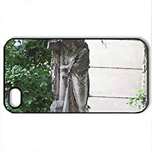 Cross and Angel - Case Cover for iPhone 4 and 4s (Religious Series, Watercolor style, Black)