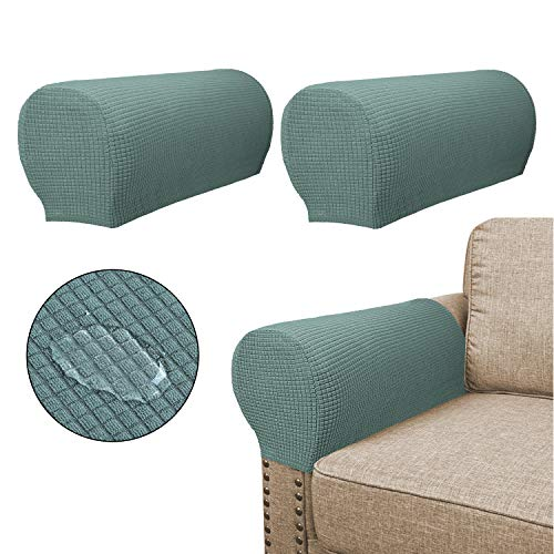 Sofa Armrest Covers(2 Pieces Set) - Water Repellent,Anti-Slip,High Stretch,Knitted Jacquard - Couch Arm Slipcover/Protector/Shield for Dog Cat Pets,Sage