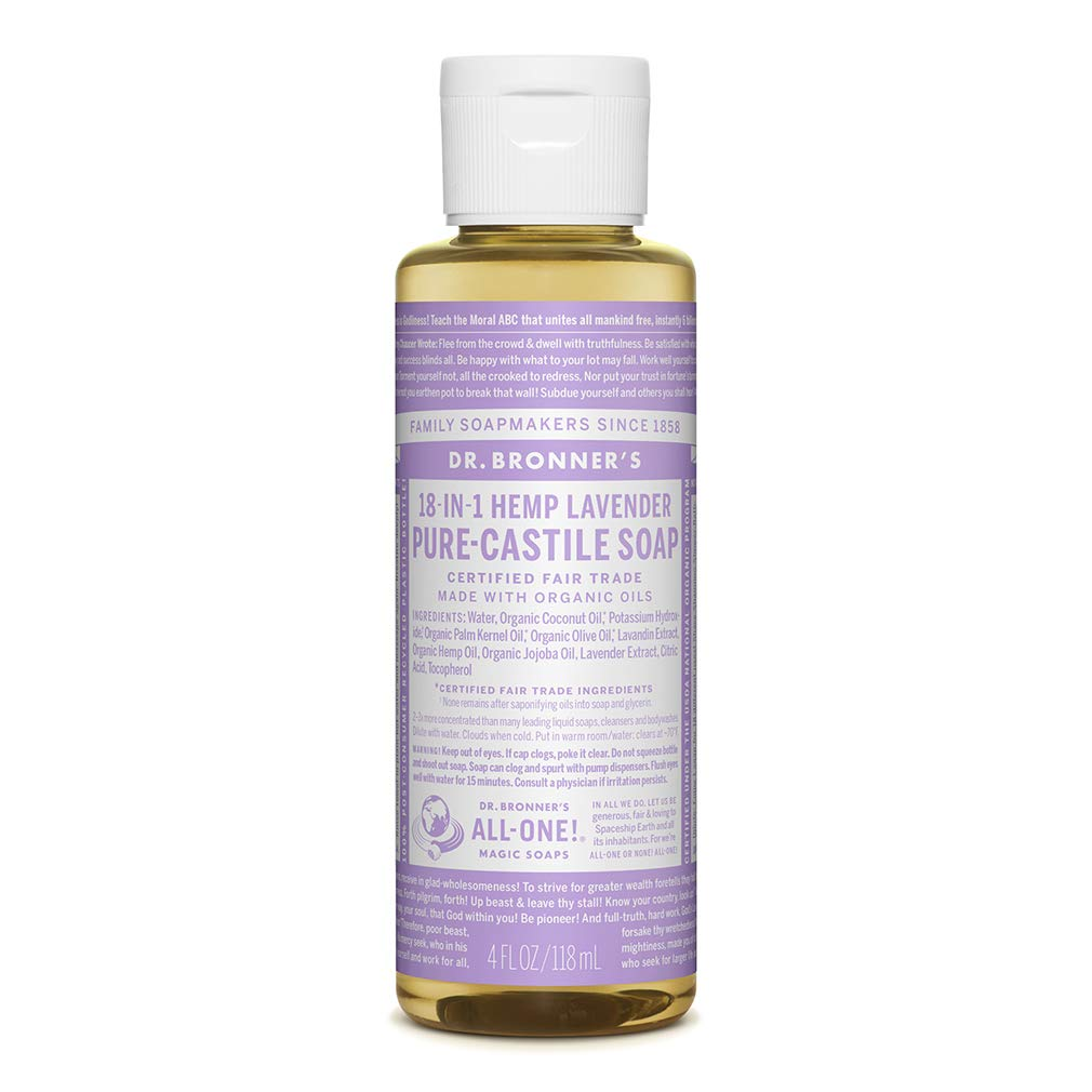 Dr. Bronner's - Pure-Castile Liquid Soap (Lavender, 4 ounce) - Made with Organic Oils, 18-in-1 Uses: Face, Body, Hair, Laundry, Pets and Dishes, Concentrated, Vegan, Non-GMO