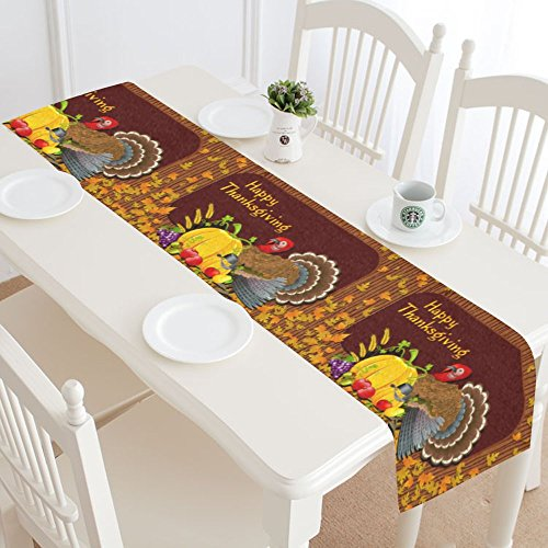 INTERESTPRINT Happy Thanksgiving Day Table Runner Home Decor 14 X 72 Inch,Thanksgiving Turkey Pumpkin Fruit Table Cloth Runner for Wedding Party Banquet Decoration (Turkey Table Runner)