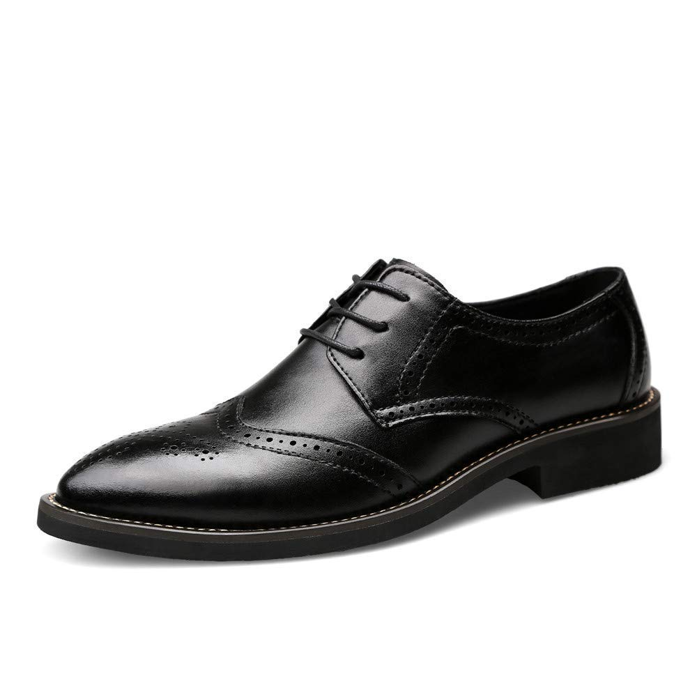 2018 Herren Business Oxford Casual Echtes Leder Britischen Stil Carving Gürtel Brogue Schuhe (Farbe   Schwarz, Größe   44 EU) (Farbe   Schwarz, Größe   46 EU)