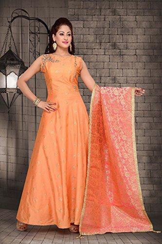 Da Facioun Readymade Indian Women Designer Partywear Ethnic Traditonal Dress. Da Facioun Design Ready-made Femmes Indien Partywear Ethnique Robe Traditionelles. Orange Orange