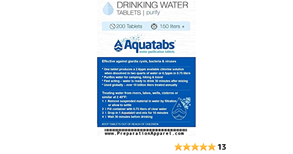 Aquatabs 400 Count Pack Water Purification Tablets One Size White