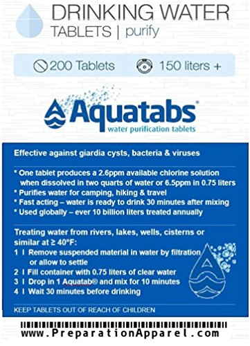 200 Pack - World's #1 Water Purification Tablets - Aquatabs (World Best Water Purifier)