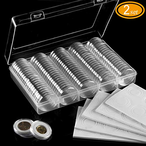 200 Coin Capsules (30mm) with 200 Foam Gasket and 2 Plastic Storage Box for Coin Collection from FRIMOONY