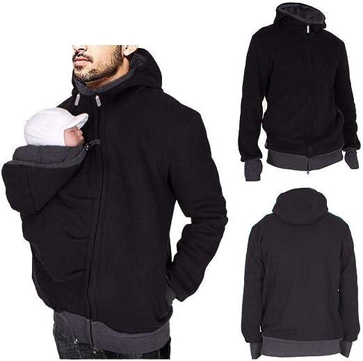 Jannyshop Hommes Kangourou Polaire Sweat À Capuche Veste Papa avec Manteau Porte bébé Zip Up