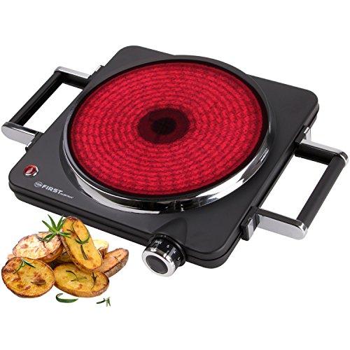 1500 Watt Infrarot-Kochplatte mit  22 cm Kochfeld | jedes Kochgeschirr geeignet | 300°C in 30 Sekunden | Griffe demontierbar | Einzel-kochplatte | Glaskeramik-Kochfeld