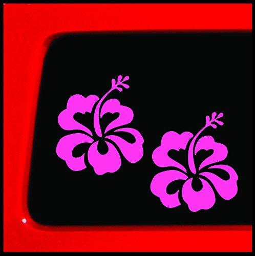 Car Decal Set - Pink Hibiscus Flower Set - Sticker Decal car truck laptop bumper