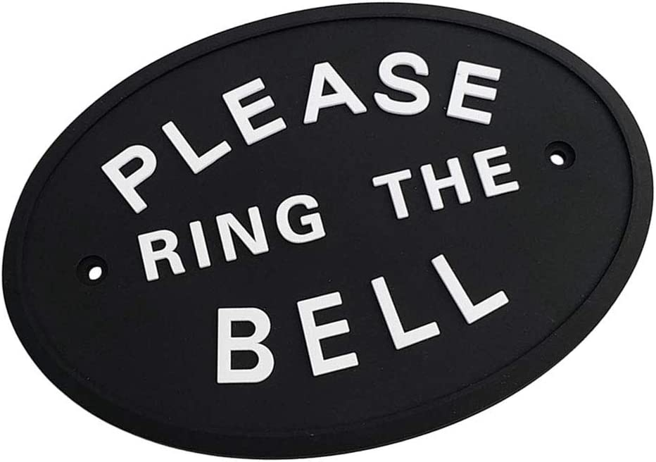 Myriad Choices 1x Silver Please Ring The Bell Hanging Plaque in Black Made From Solid Resin