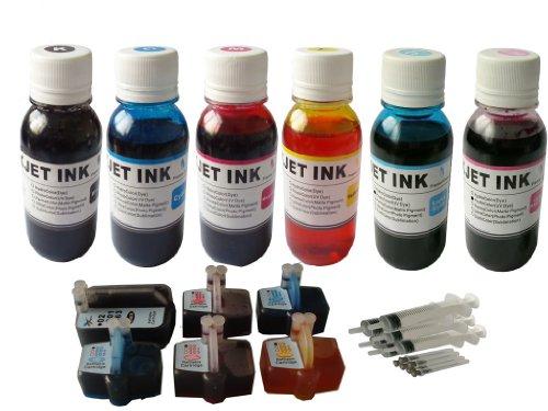 6 Syringe Kit (ND ™ Brand Dinsink 6 Refillable Cartridges for Hp 02 Photosmart C5180 C6180 C7180 C8180 C7280 C6280+6x4ozrefill ink +6 Syringe)