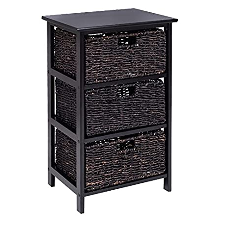 Storage Tower With Baskets Black   Drawer Organizer Cabinet Woven   Best  For Office, Bedroom