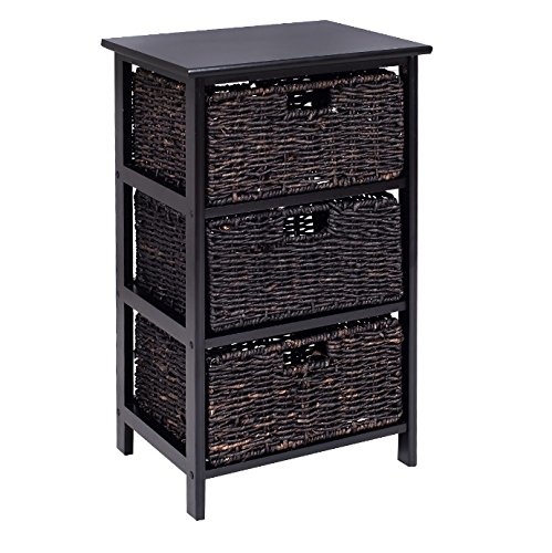 Storage Tower with Baskets Black - Drawer Organizer Cabinet Woven - Best For Office, Bedroom, Bathroom, Laundry Room Bundle w Floor Protector Pads (3 Drawers) by HLA Collection