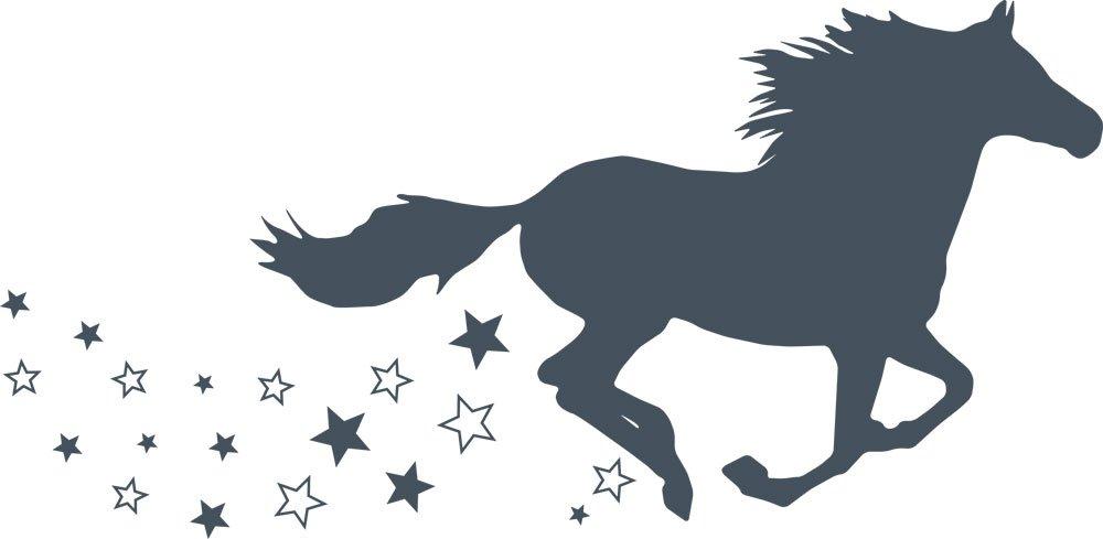 GRAZDesign 300053_57_WT010 Wandtattoo Wandaufkleber Tattoo für Mädchenzimmer Pferd galoppieren Sterne Sterne Sterne (116x57cm    010 Weiss) B07CNQ62J1 Wandtattoos & Wandbilder 8cc42f