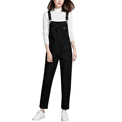 Yeokou Women's Casual Denim Bib Cropped Overalls Pant Jeans Jumpsuits: Clothing