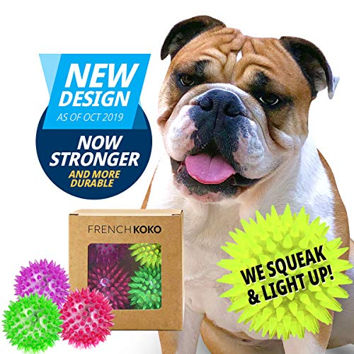 French KOKO Squeaky Dog Ball Toys, 3″ Tennis Ball Size Spike Rubber Balls, Puppy Small Medium Pet, Best Chewing Toys Fetch Chew Gift Toss Spiky Spikey Teething