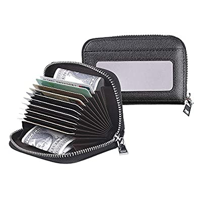 Women Wallet Genuine Leather Credit Card Holder with RFID Blocking Small Accordion Leather Credit Card Wallet with Zipper