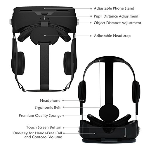 3D VR Glasses, YESSHOW VR Goggles Virtual Reality Headset Box for 3D Movies and VR Games with Remote Control Compatible with iPhone X /8/8 Plus 7/7 Plus/6S/ 6 Samsung S8/S7 and Other 4.0''-6.0'' phones by YESSHOW (Image #2)