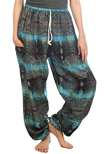 Lofbaz Women's Drawstring Paisley Harem Boho Genie Pants Light Blue - Hippie Paisley