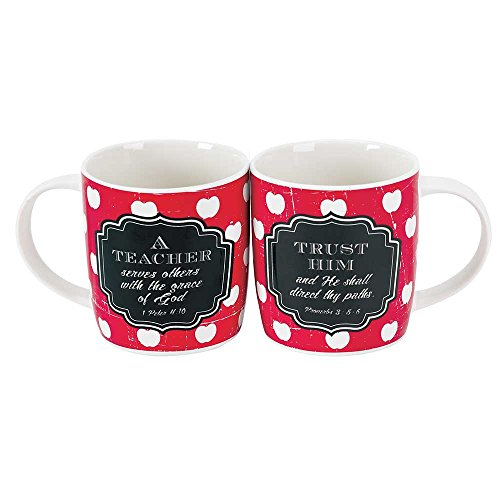 (Teacher Serves Others with Grace of God Apple Red 12.5 Ounce Bone China Coffee Mugs Set of 2)