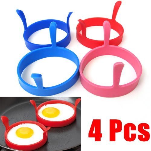 Fuyunshine 4 Pcs Kitchen Silicone Fried Fry Frier Oven Poacher Pancake Egg Poach Ring Mould Tool??Egg Poach Ring Mould Tool for Women
