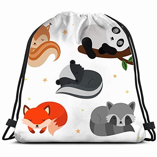 Adorable Flat Sleeping Animals Set Wildlife Animal Drawstring Backpack Gym Dance Bags For Girls Kids Bag Shoulder Travel Bags Birthday Gift For Daughter Children Women ()