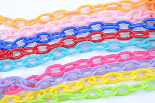 9x Bird Chain Toys Parrot Multicolor Plastic Chain For Cage