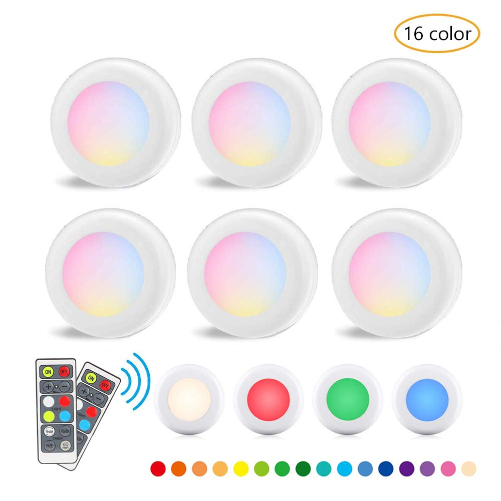 RGB 16 Colors 3 Modes LED Closet Light Wireless Dimmable Touch Sensor Under Cabinet Light LED Puck Light Wardrobe Night Lights with Remote Control Dimmer Timing Function 6 Pack