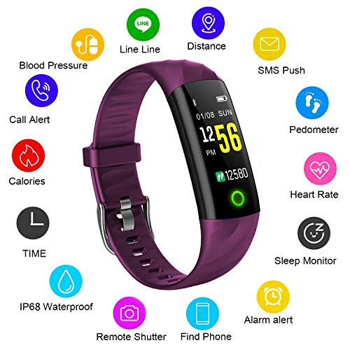 Fitness Tracker, LIGE Heart Rate Monitor Tracker Smart Bracelet Activity Tracker Bluetooth Pedometer with Sleep Monitor Smartwatch for Android or iOS Smartphones for Adults Kids