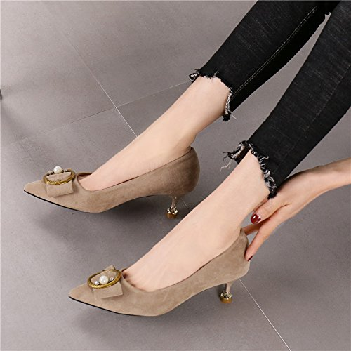 Heel Fashion Pearls Bow Leisure Heel Shoes Shallow Shoes Low Color Pointed Head Shoes 34 Work Fine Elegant Women'S Single MDRW Lady Sand Spring 4 5Cm q8pY0Y